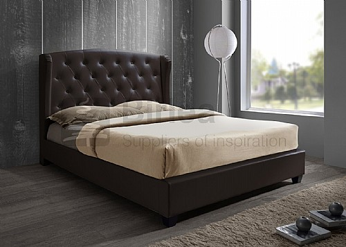 Prague Faux Leather Bed Frame (Brown) - Birlea