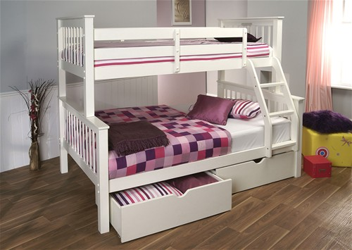 Pavo High Three Sleeper Bunk Bed (White) - Limelight Beds