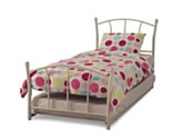 Penny Single Metal Bed + Guest Bed (White Gloss) - Serene Furnishings