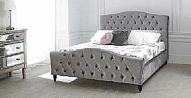 Phobos Bed Frame Plush Silver Fabric - Limelight