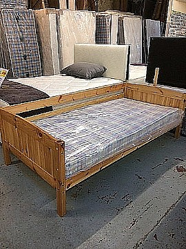 Pine Bed with Safety Guard  and Mattress- 3ft single