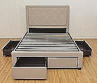 Porto Fabric  Bed Frame with Storage Drawers (Fawn) - Ambers International