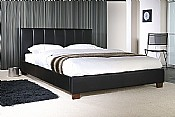 Pulsar Single Bed Frame (Black Faux Leather) - Limelight Beds