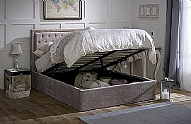 Rhea Storage Bed Frame (Mink Velvet Fabric) - Limelight Beds
