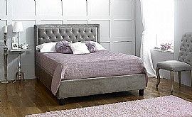 Rhea Bed Frame (Plush Silver Velvet Fabric) - Limelight Beds