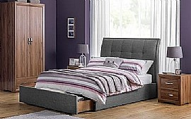 Santorini Grey Linen Bed Frame with large end drawer - JB