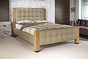 Saturn Bed Frame (Oatmeal Fabric with Oak) - Limelight Beds