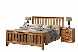 Sofia Wooden Bed Frame (Honey Oak Finish) - Ambers International