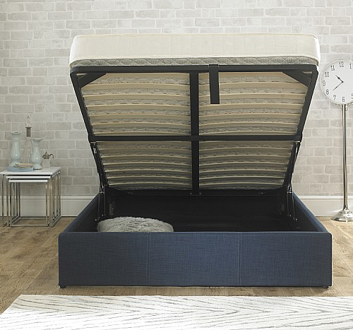 Stirling Fabric Ottoman Bed (Chambray Blue) - EB