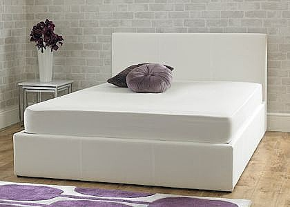 Stirling Ottoman Bed (Ice White Fabric) - Emporia