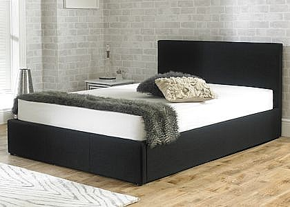 Stirling Ottoman Bed (Noir Black Fabric) - Emporia