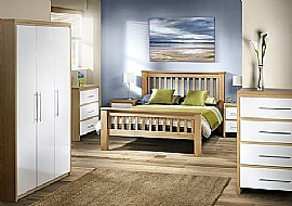 Stockholm Bedroom Furniture (High Gloss White / Oak) - Julian Bowen
