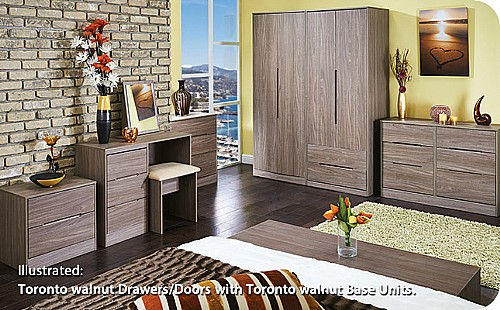 Monaco Toronto Walnut Bedroom Range (14 colour combinations available) - Welcome Furniture