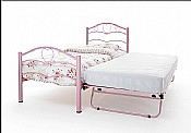 Yasmin Single Bed & Guest Bed (Pink Gloss) - Serene Furnishings