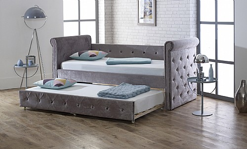 Zodiac  Fabric Day Bed and Trundle (Plush Silver) Limelight Beds