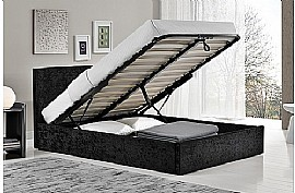 Berlin Fabric Ottoman Bed Frame (Black Crushed Velvet) - Birlea Furniture
