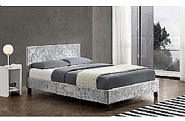 Berlin Fabric Bed Frame (Steel Crushed Velvet) - Birlea
