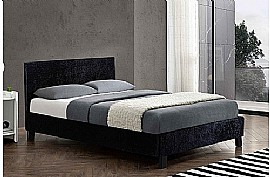 Berlin Fabric Bed Frame (Black Crushed Velvet) - Birlea