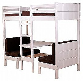 Convertable Play Bunk & Foam Cushions (White Wood) - SD