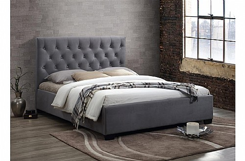 Cologne Fabric Bed Frame (Grey) - Birlea Furniture