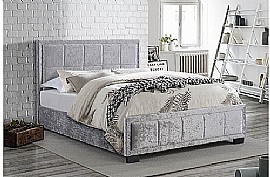 Hannover Fabric Bed Frame (Steel Crushed Velvet) - Birlea