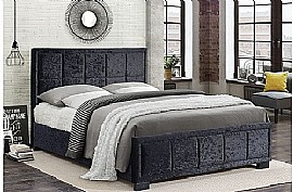 Hannover Fabric Bed Frame (Black Crushed Velvet) - Birlea