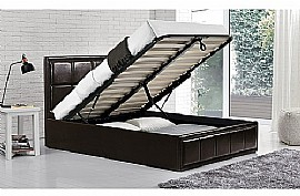 Hannover Faux Leather Ottoman Bed (Brown) - Birlea