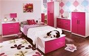 Knightsbridge Teen Range (Pink/White High Gloss) - Welcome Furniture