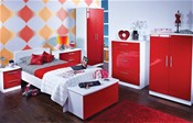 Knightsbridge Teen (Ruby & White High Gloss finish) - Welcome Furniture