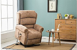 Manhattan Fabric Rise and Recline Chair (Wheat) - Birlea Furniture