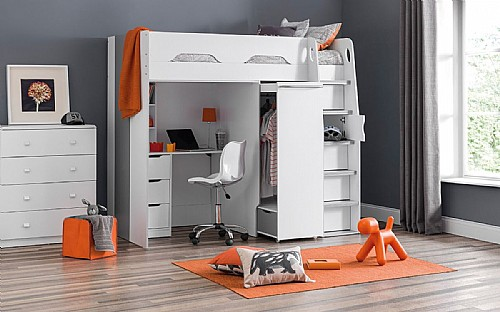 High Sleeper with Desk, Wardrobe and storage shelves PEG001 JB