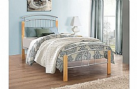 Tetras Single (Silver & Beech) Bed Frame - Birlea Furniture