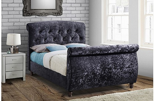 Toulouse Fabric Bed Frame (Black) - Birlea Furniture