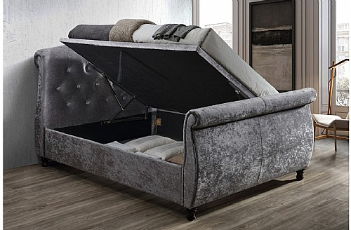 Toulouse Fabric Side Ottoman Bed (Steel Crushed Velvet) - Birlea
