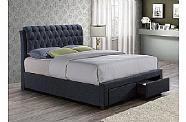 Valentino 2 Drawer Fabric Bed Frame (Charcoal) - Birlea Furniture