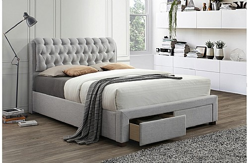 Valentino 2 Drawer Fabric Bed Frame (Light Dove Grey) - Birlea Furniture