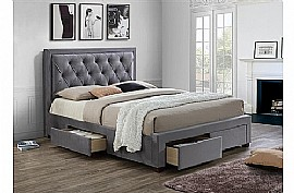 Woodbury Fabric Bed with 4 Drawers (Grey) - Birlea