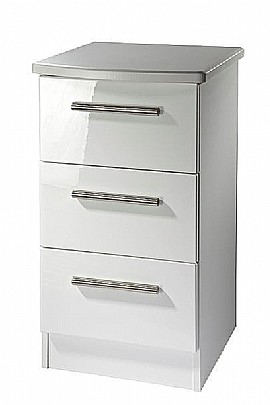 3 Drawer Bedside Locker - White