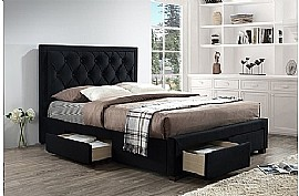 Woodbury Fabric Bed with 4 Drawers (Black Crushed Velvet) - Birlea